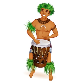ハワイアンの服を着た若い男がドラムを弾いています。