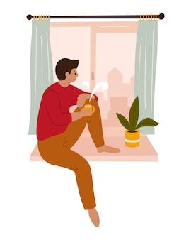 Молодой человек смотрит в окно, сидя на подоконнике дома. рисованная цветная иллюстрация. карантин. коронавирус. медитация, пить кофе, чай. останься дома.