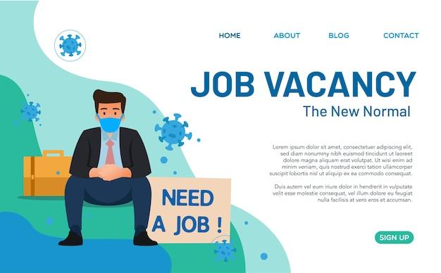 若い男がウイルスによる仕事の契約によって終了されたために仕事を見つけようとしている