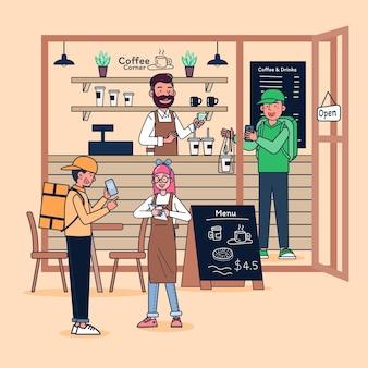 若い男が小さな喫茶店を開きます。コーヒーとケーキの販売バリスタで一人で店を経営しています。ビジネスは頻繁な顧客と配達で成長しています。フラットイラスト