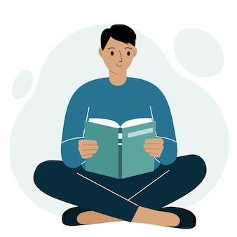 젊은 남자가 책 다리를 넘어 레저 및 교육 개념 벡터 평면 그림을 읽습니다.