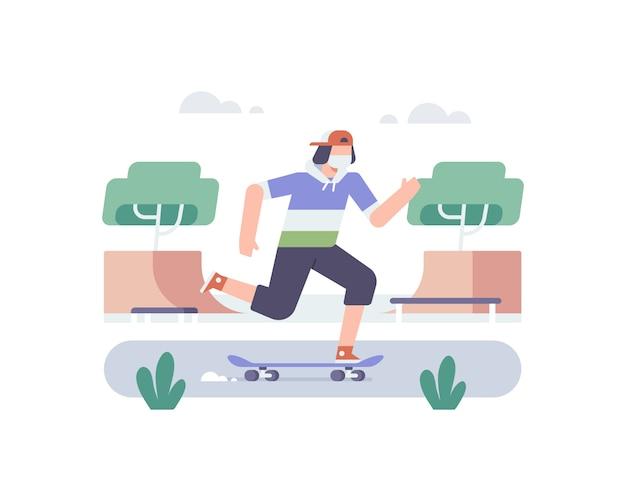 若い男がフェイスマスクを着用し、スケートボードに乗ってスケートパークのイラストを見る