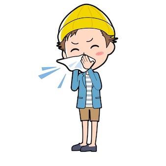 鼻炎のジェスチャーを持つ若い男。