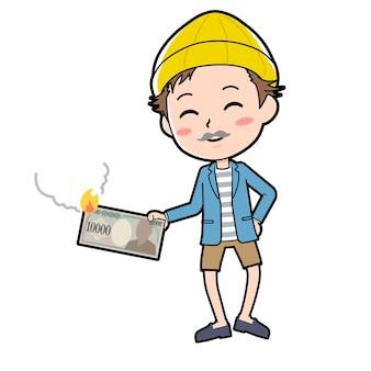 Молодой человек с жестом сатиры иллюстрации.