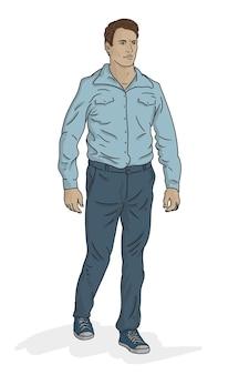 青いシャツのジーンズとスニーカーの若い中年男性が歩く