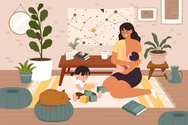 Молодая мама проводит время с новорожденным и дочкой