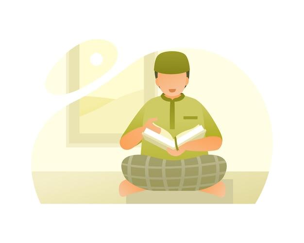 Мальчик-мусульманин читает аль коран