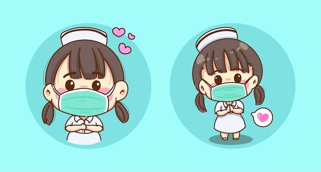 독감 마스크를 쓰고 사랑으로 돌보는 젊은 간호사