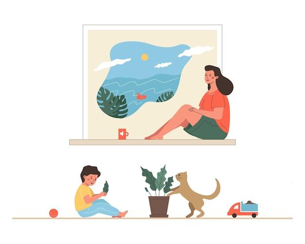 若いかわいい母親は海での休暇を夢見ています。母体の燃え尽き症候群、メンタルヘルスの概念。