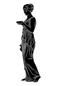 젊은 날씬한 고대 그리스 여인이 서서 포도주와 그릇을 들고 있습니다.