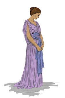 고대 그리스 튜닉을 입은 젊은 날씬한 여성이 머리를 숙이고 서 있습니다. 흰색 배경에 고립 된 그림입니다.