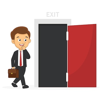 Молодой улыбающийся бизнесмен обнаружил, что открыл дверь выхода