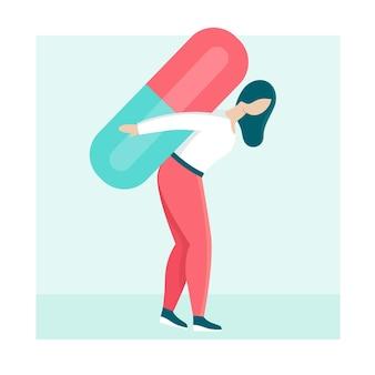 한 젊은 여성이 큰 알약을 등에 메고 있습니다. 장기적이고 영구적인 치료, 종양학, 당뇨병의 개념입니다. 소녀는 아프고 약합니다. 평면 벡터 그림입니다.