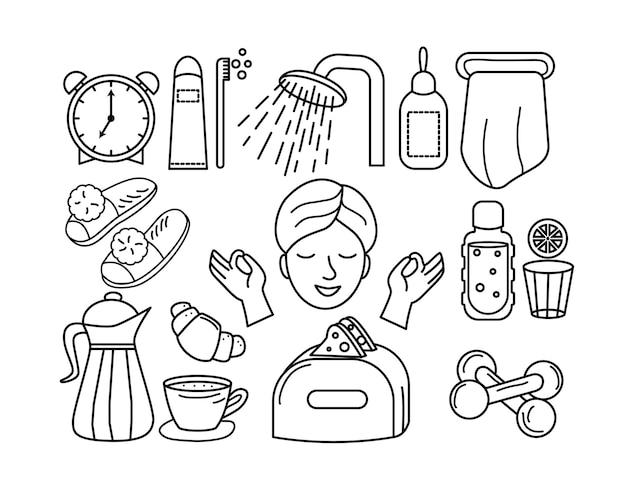 아침 일과를 하는 젊은 여성 여성 자기 관리 개념