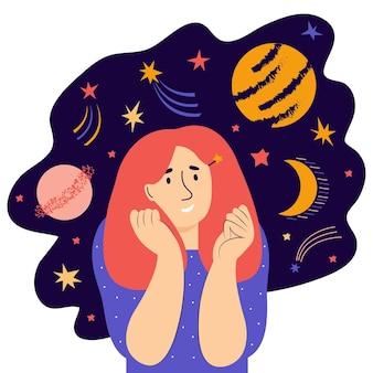 若い女性は、星と宇宙を夢見て考えます。精神行動の概念。創造的で想像力豊かな思考。女性キャラクターは前向きな感情と幸福を感じます。フラットベクトル図