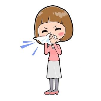 鼻炎のジェスチャーでピンクの服を着た若い女性。