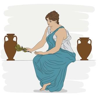 古代ギリシャのチュニックに身を包んだ若い女性が石の欄干に座り、月桂樹の枝を手に持っています。白で隔離。