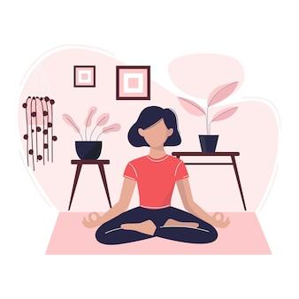 若い女性が部屋で瞑想しているヨガ瞑想の概念図リラックス