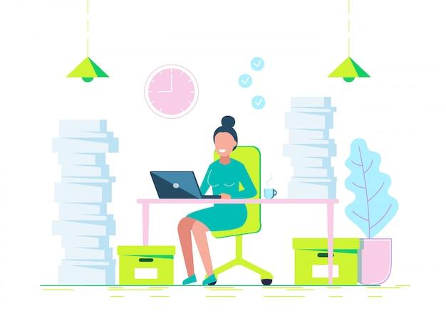 Молодая женщина усердно работает с ноутбуком. бизнес иллюстрация