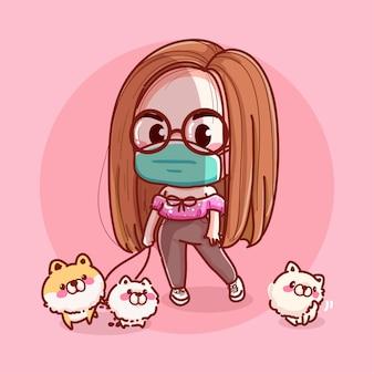 독감 마스크를 쓰고 개를 산책하는 젊은 여성