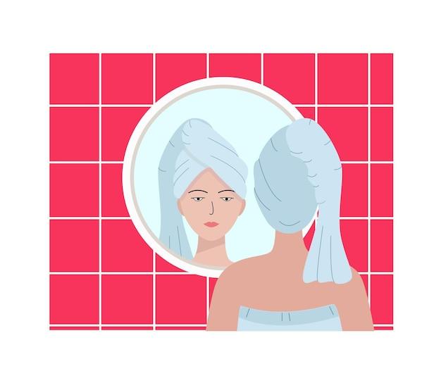 頭にタオルをかぶった若い女性がバスルームの鏡に映っています。美しさ、衛生の概念のベクトルイラスト。