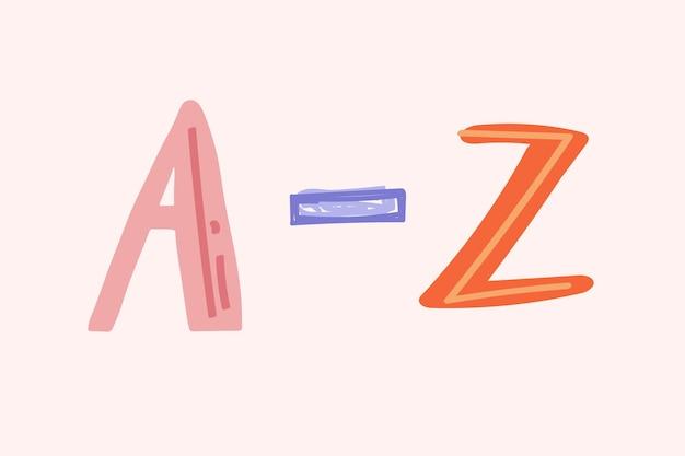 Az алфавит типографии каракули шрифт рисованной вектор