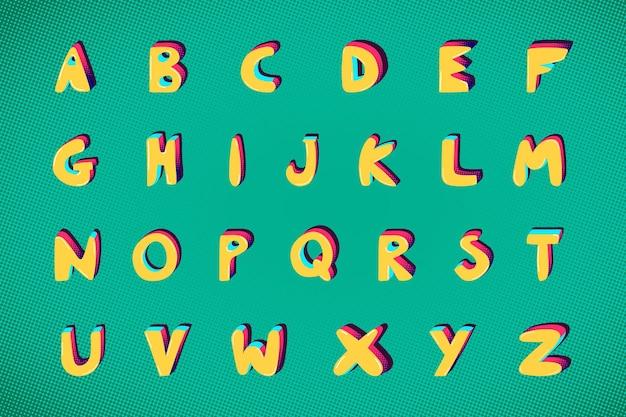 Az 굵은 펑키 글꼴 알파벳 타이포그래피 세트