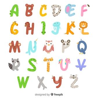 Aからzの動物のアルファベット