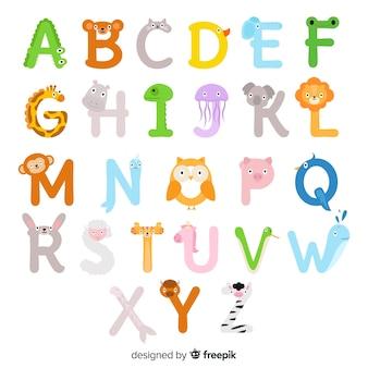 イラストの動物アルファベットaからz