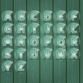 Aからzまでのアルファベットの単語ゲーム透明なガラス板の色