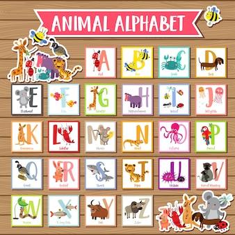 Aからzまでの動物のアルファベット