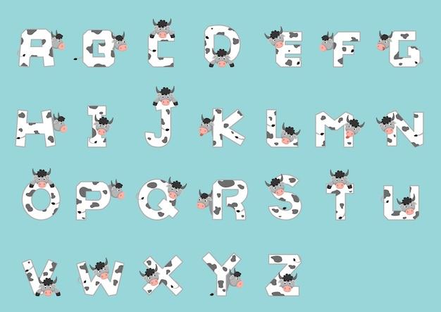 アルファベットa〜z牛