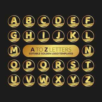 Aからzまでの文字の編集可能なゴールデンロゴのテンプレートコレクション