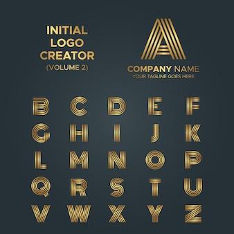 ロゴ作成者、aからzまでの文字アートアートストライプラグジュアリーロゴコレクション