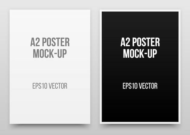 A2白と黒のポスターのリアルなテンプレート