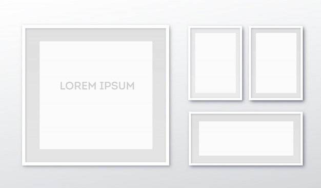 A3, a4 vertical blank picture frame for photographs  realisitc paper or plastic white picture-framing mat with wide borders shadow.