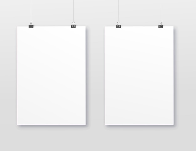 A3, a4 vertical blank picture frame for photographs. vector realistic paper or plastic white picture-framing mat with wide borders shadow