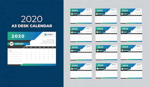 A3 desk calendar 2020 template