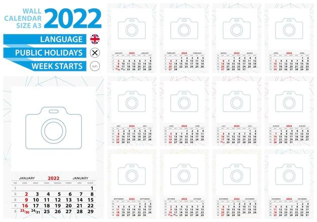 A3 크기 벽 달력 2022년에는 추상적인 배경과 사진을 위한 장소가 있습니다.