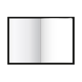 A4 a5 notepad template isolated vector illustration white page spread with realistic light