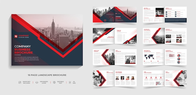 A4 bifold landscape company profile brochure template and annual report design with abstract red and black shape