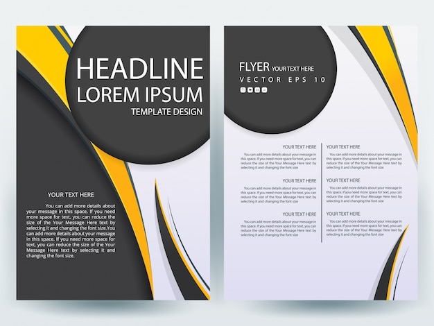 A4 brochure layout template with black and yellow circle