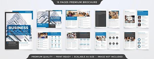 ビジネス提案のためのミニマリストでクリーンなコンセプトの使用によるa4パンフレットテンプレートデザイン