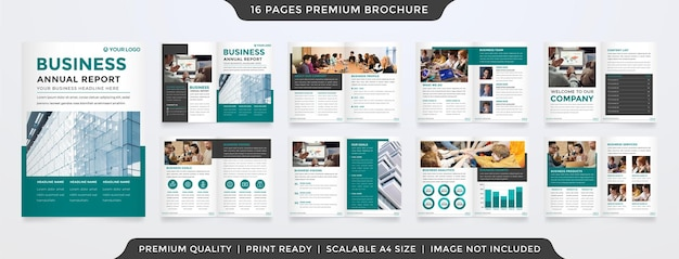 ミニマリストスタイルとビジネス提案と年次報告書に使用するモダンなコンセプトレイアウトを備えたa4パンフレットテンプレートデザイン
