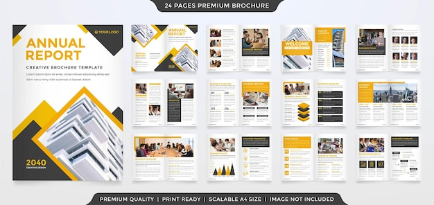 A4 brochure template with minimalist style use for business annual report and company profile