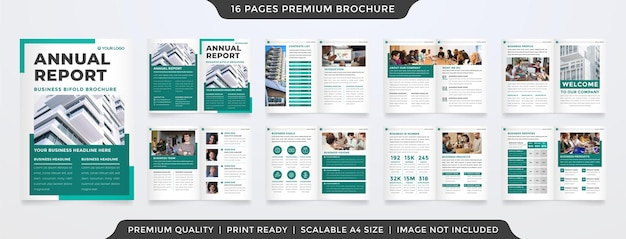 会社のプロファイルとポートフォリオに最小限のレイアウトスタイルを使用したa4ビジネス年次レポートテンプレートデザイン