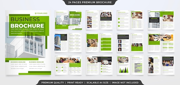 A4 business bifold brochure template with minimalist and premium style