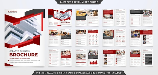 A4 business brochure template with abstract style and minimalist concept