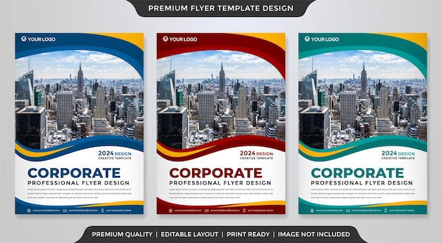 A4 business flyer layout template with modern and premium vector