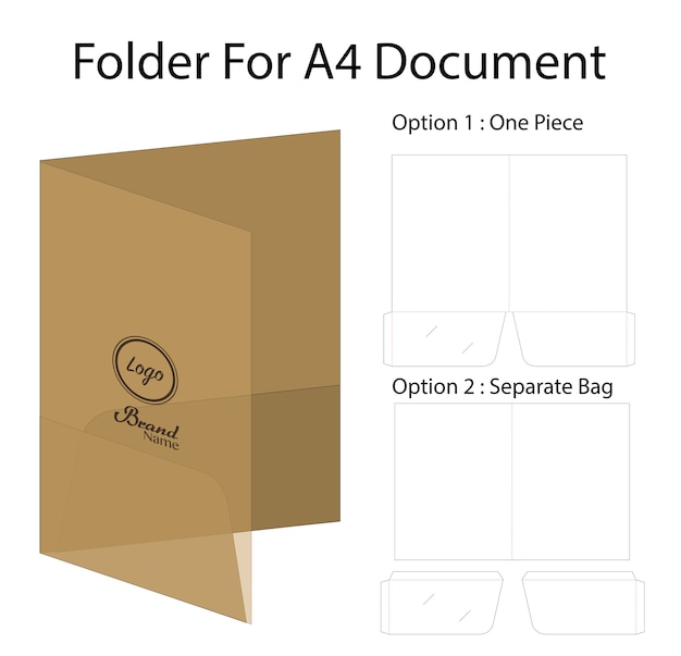 A4 document folder mockup with dieline